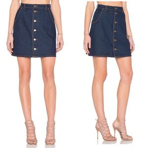 The Fifth Label Denim Skirt Fit Exposed Button XS